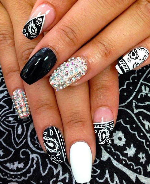 white and black marble nails