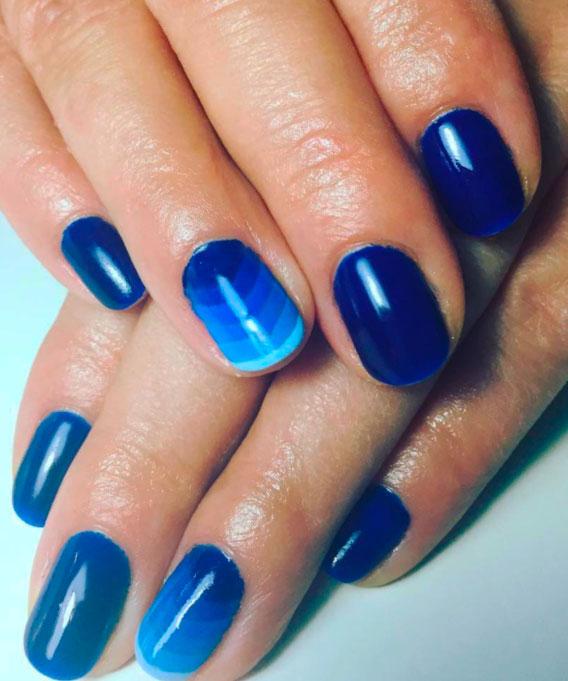 geometric blue nail art designs