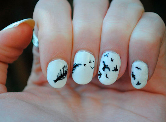 simple black and  nail designs