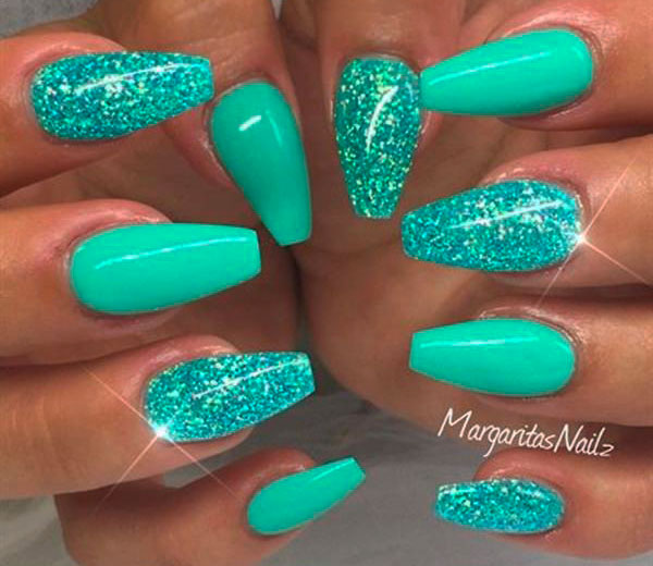 green cute coffin nails