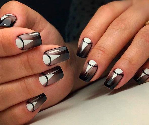 modern black geometric nail art designs