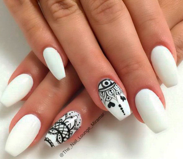 gray black and white nails