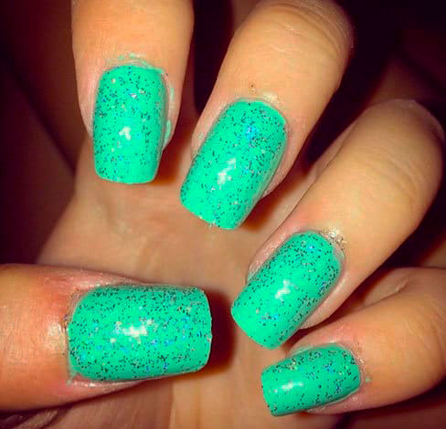 Love the matte color! Mint green coffin nails