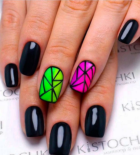 black and green nail design images