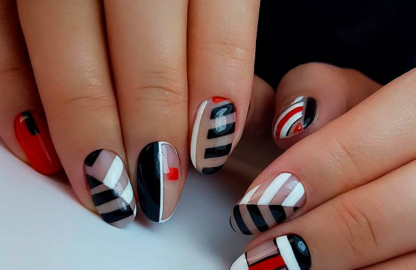 geometric french manicure pictures
