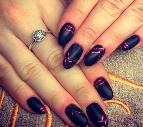 black geometric shapes nail art