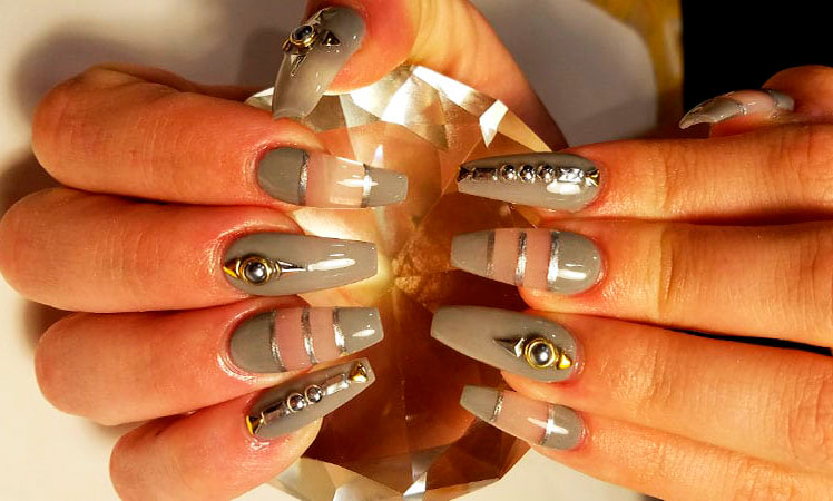 grey coffin nails images