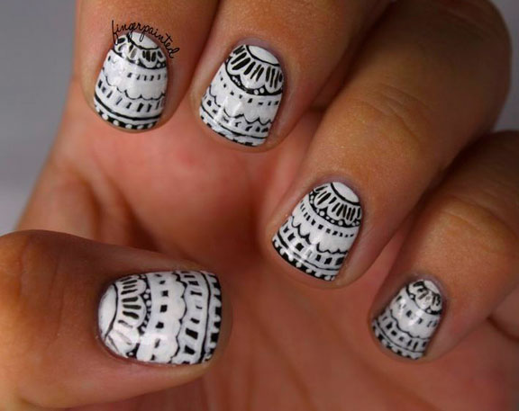 Classic Black And Nail Art Designs