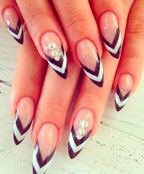 black and white chanel nails
