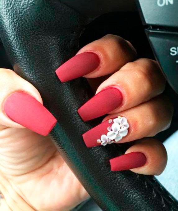 red medium almond nails