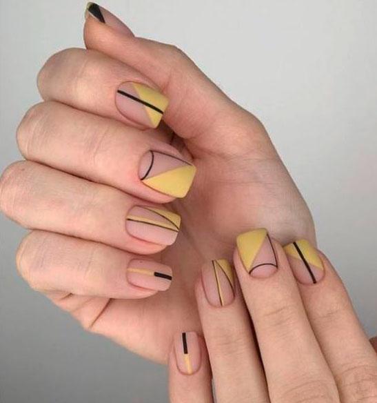 yellow shape nail design