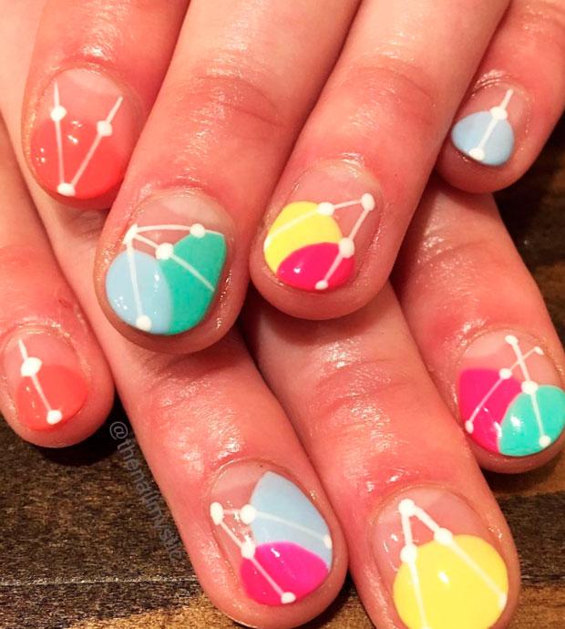 multicolor  nail design in 2021