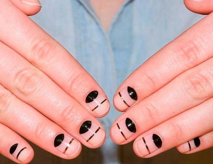 black smile nail design