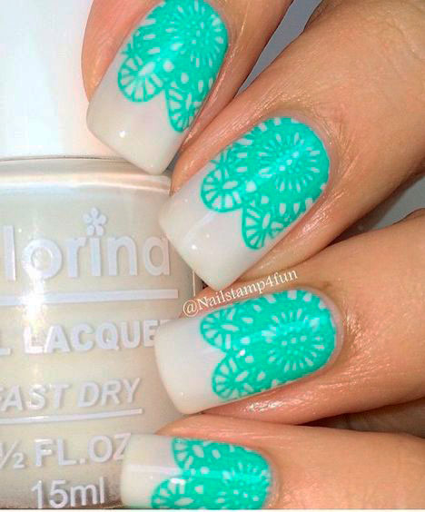 mandala green nail design
