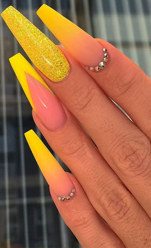 yellow acrylic nail designs images