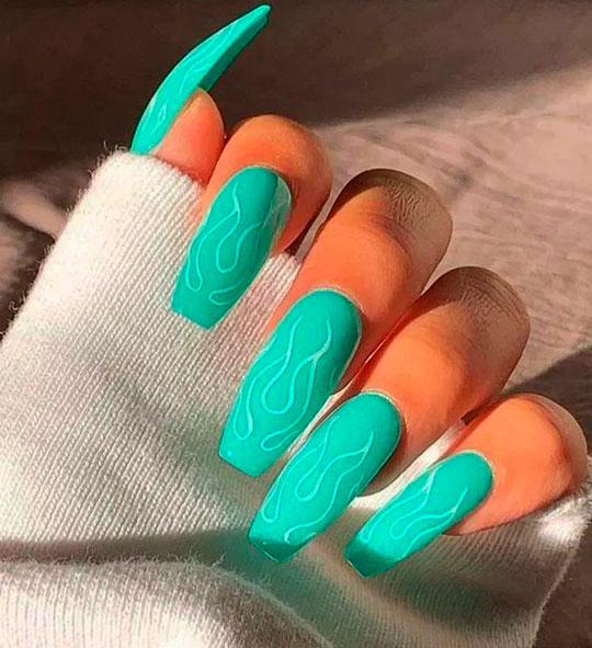 green cute easy acrylic nails