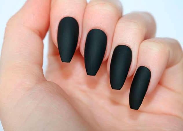 black long nails coffin