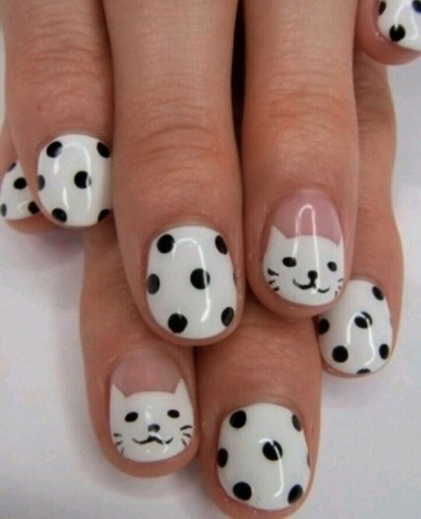 Examples of and White Nail Art