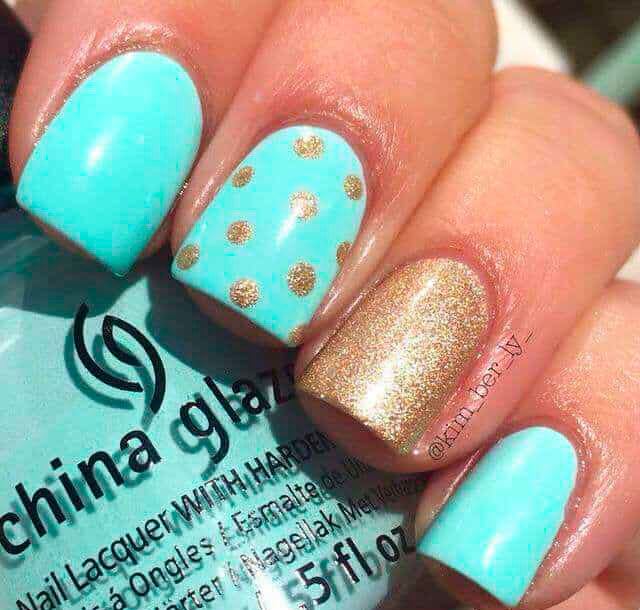 mint green and gold nail designs