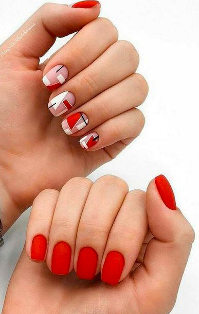 red color nail art design images