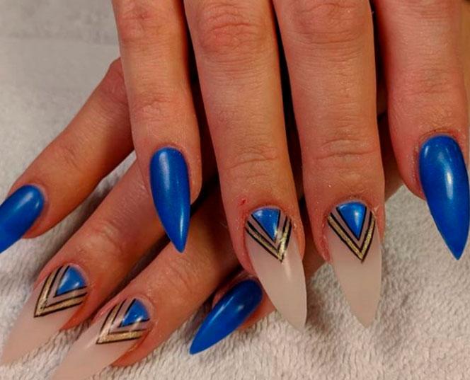 blue long nail designs shape images