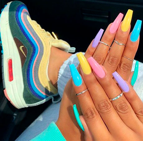 multicolor pink acrylic coffin nails