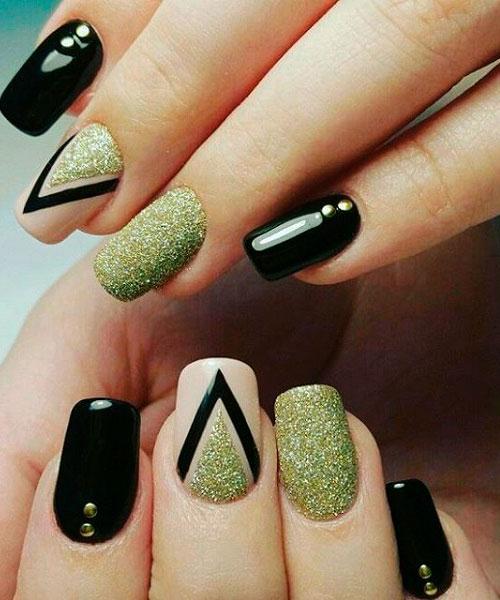 black green nail design for summer
