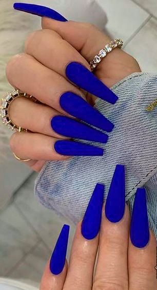 long blue nail designs coffin