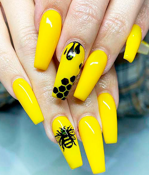 yellow and black  long coffin acrylic nails