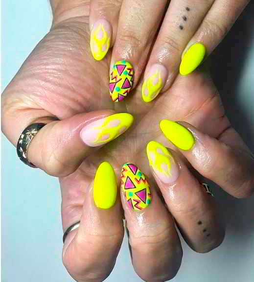 bright yellow coffin nails for active girl