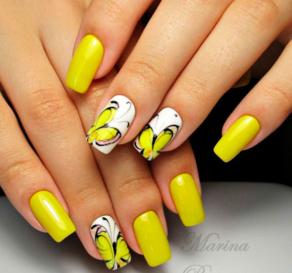 Yellow gel nails design