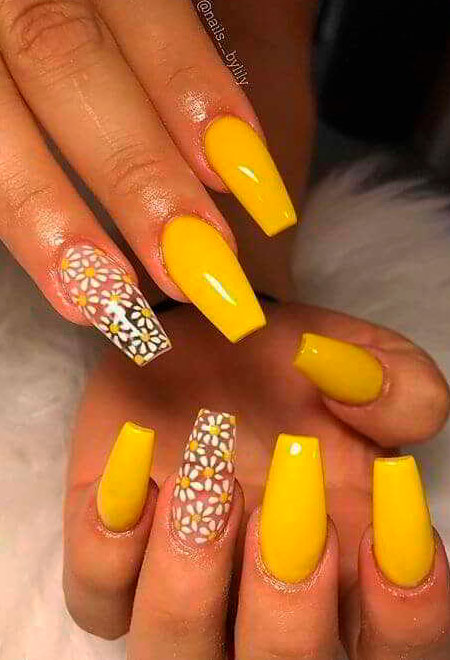 yellow long coffin nails ideas new