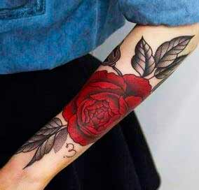 big  Red rose tattoos ideas on girls arm