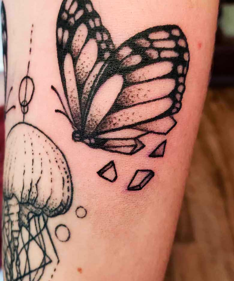 butterfly arm tattoos for girls