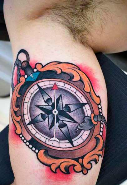 colourful  Cool Compass Tattoos For Men in 2021