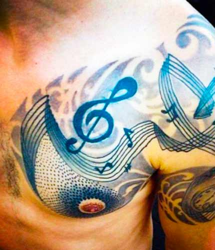 Top music symbol on guys body