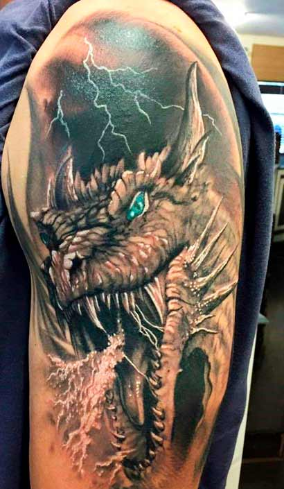 dragon colorful symbol on guys body