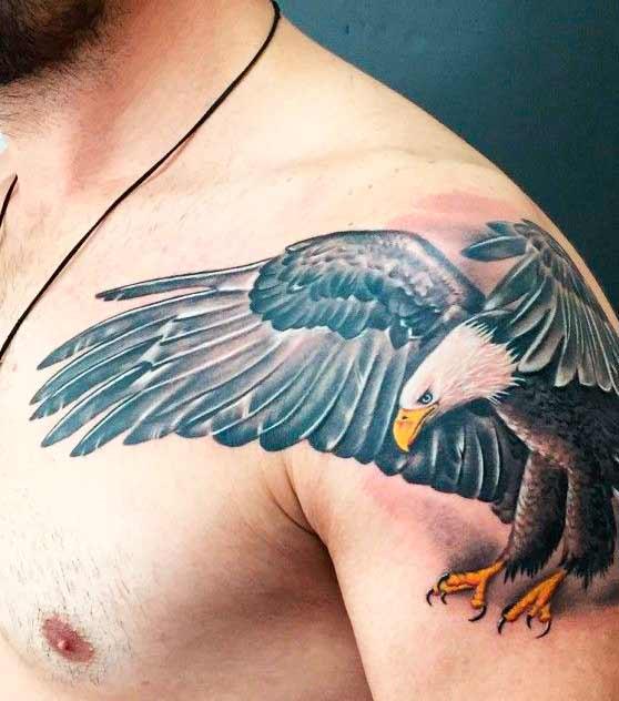 wild bird shoulder tattoo on guys