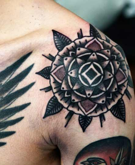 shoulder mandala mens tattoo ideas