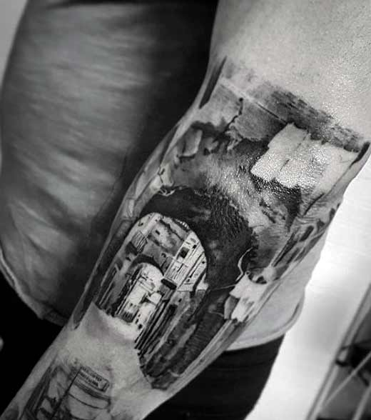 city creative tattoos for males on arm