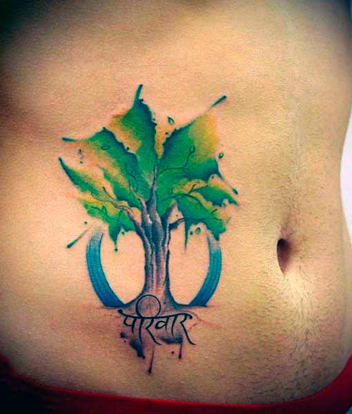cool tree tattoos for guys on stomach
