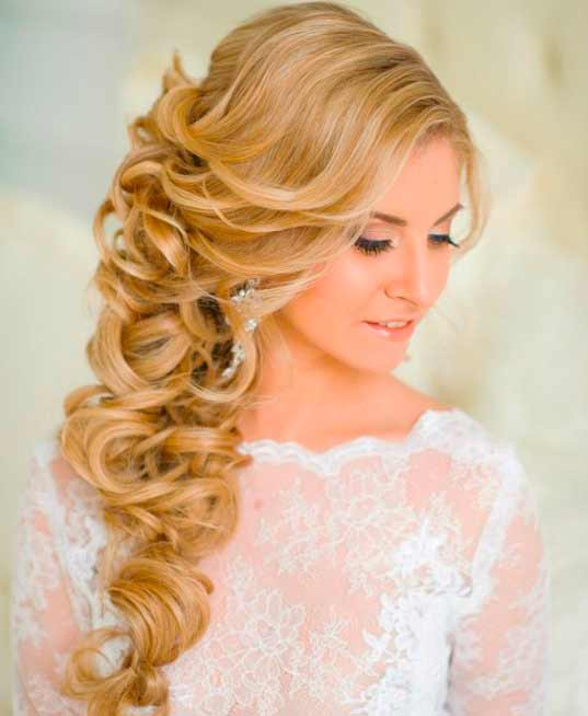 blonde long hair wedding style