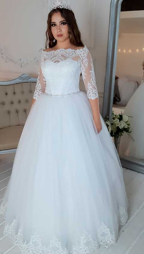 a line wedding dress with sleeves modesty