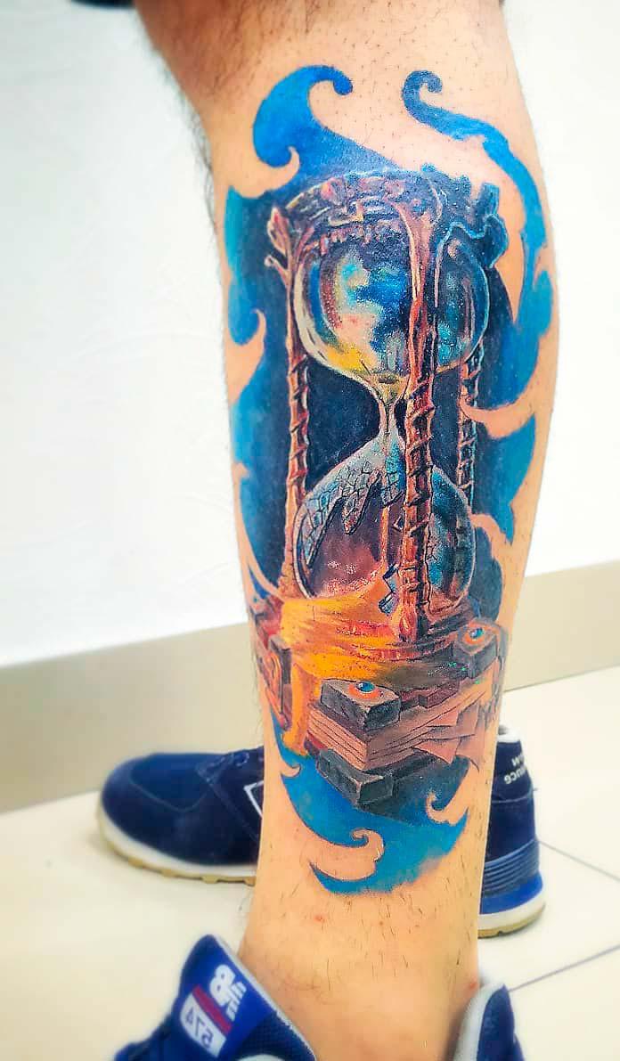clock tattoo design colorful roman art ink