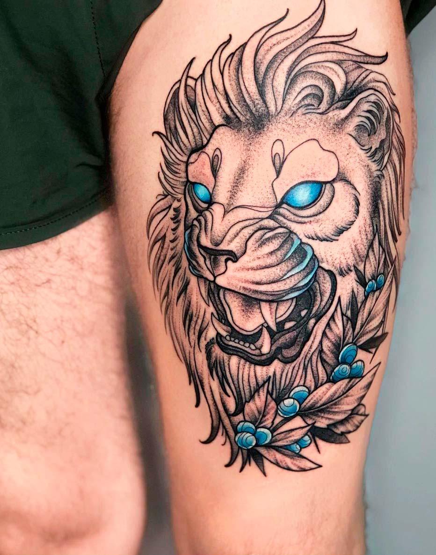 lion art tattoo portrait on leg