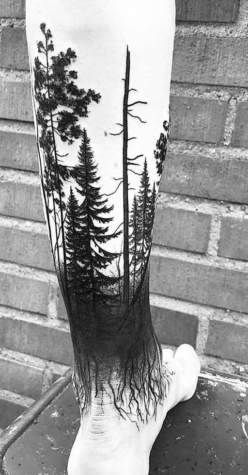 Wood  Tattoo Designs For Men  on leg