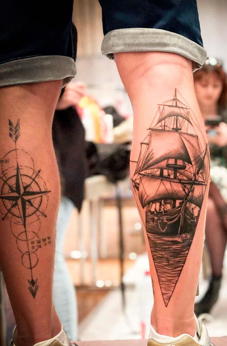 ship tattoo design  on back of leg for men