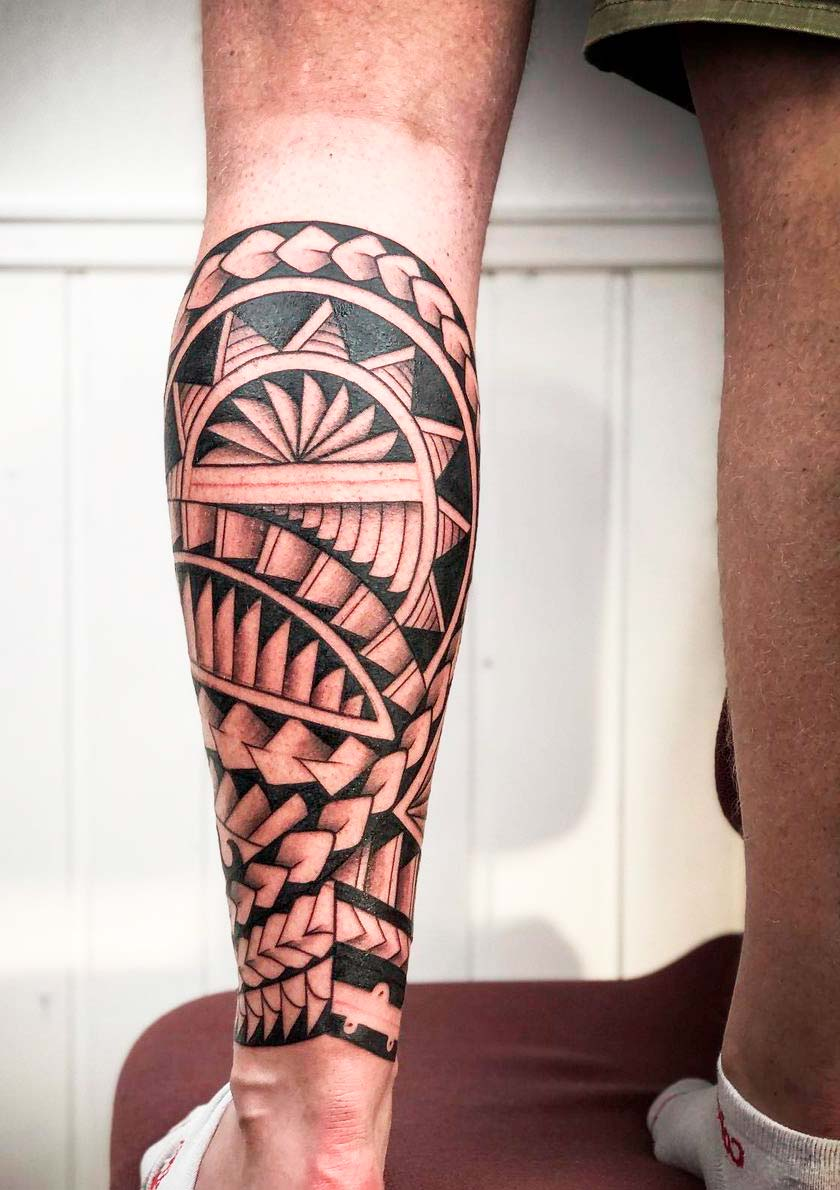 Realistic  tribal tattoo designs for mens legs