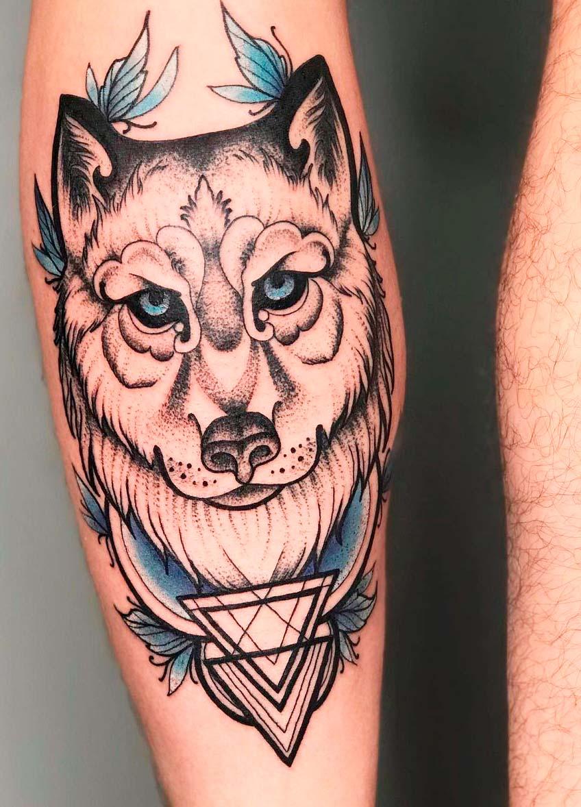 wolf original Tattoo Ideas on leg back