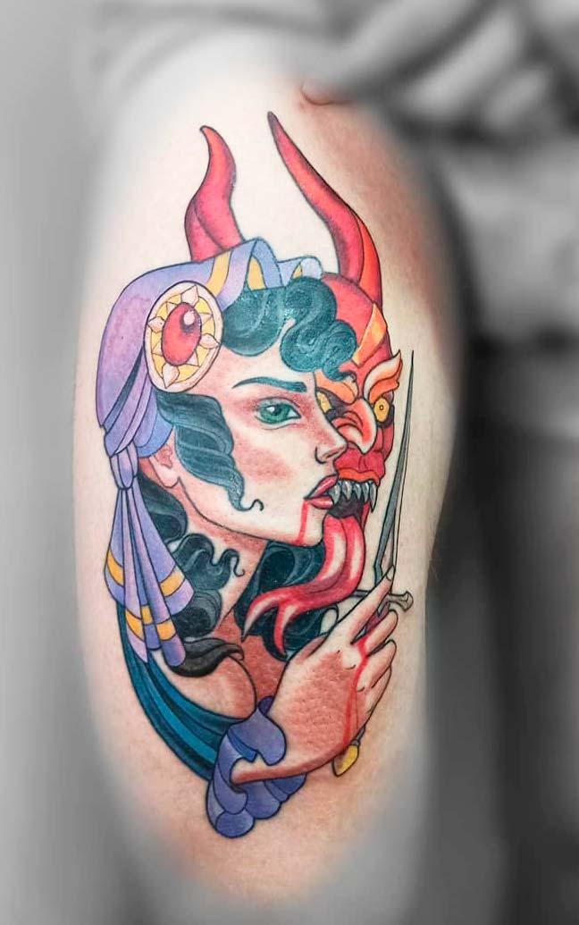 Attractive  Ink Demon Designs Tattoo On Leg